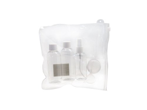 kit de voyage avion 4 flacons entonnoir trousse transparente valise cabine bagages. Black Bedroom Furniture Sets. Home Design Ideas