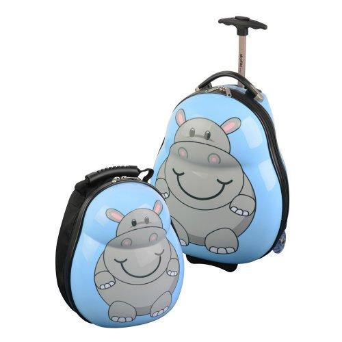skyflite london skykidz ensemble de valises roulettes pour enfant motif hippopotame bagages. Black Bedroom Furniture Sets. Home Design Ideas
