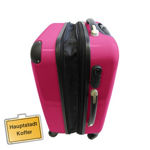 3 valises rigide roulettes avec serrure tsa 4 roues rose magenta polycarbonate set petite 57l. Black Bedroom Furniture Sets. Home Design Ideas