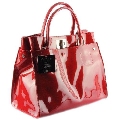 053915624dc Olivia – Sac à main femme Cuir vernis Fabriqué En Italie N1104 Rouge ...
