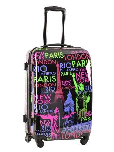 valise 4 roues rigide print shinny noir abs polycarbonate bagages. Black Bedroom Furniture Sets. Home Design Ideas